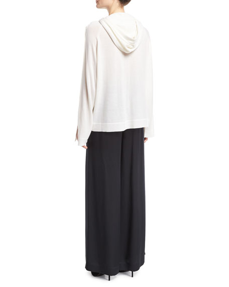 Merino Wool Button-Sleeve Pullover Hoodie, Ivory