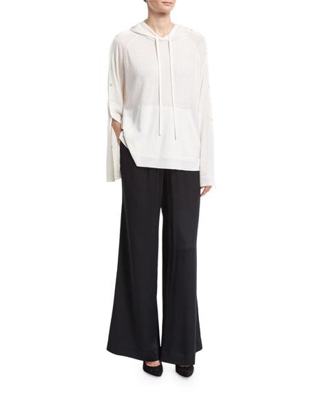 Wide-Leg Drawstring Satin Pants, Black