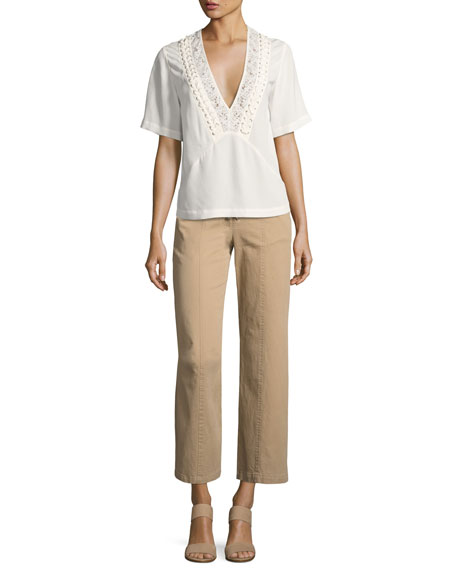 Kyt High-Waist Lace-Front Pants, Khaki