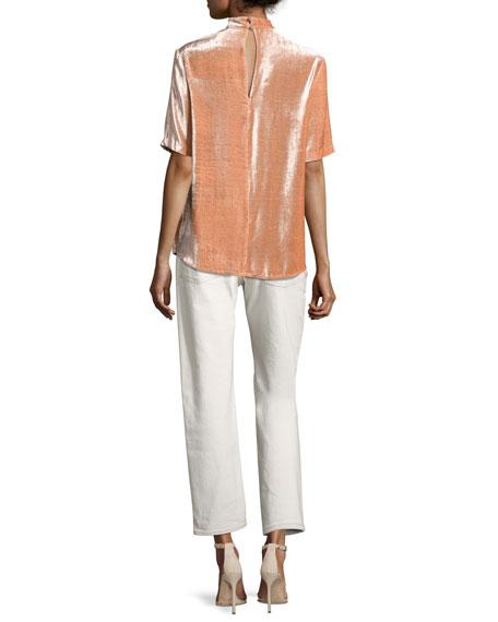 Yoko Lace-Front Denim Pants, White