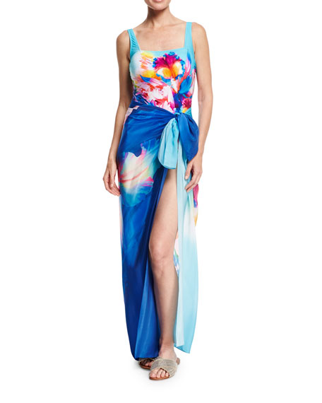 Hawaii Square-Neck One-Piece Swimsuit, Blue Multi