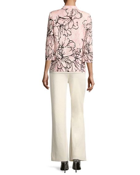 Graphic Petals 3/4-Sleeve Jacket, Plus Size
