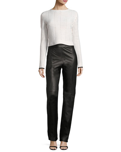 Contour-Yoke Leather Straight-Leg Pants and Matching Items