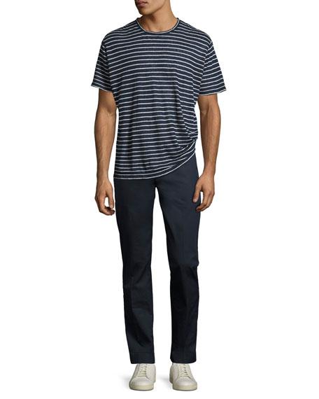 Striped Linen-Silk Crewneck T-Shirt, Blue/White