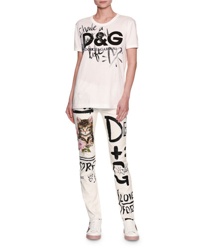 Graffiti & Cat Printed Skinny Jeans, White and Matching Items