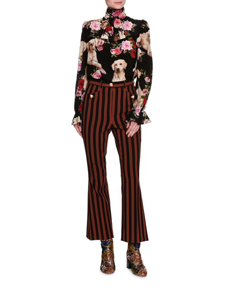 Striped Kick-Flare Cropped Pants with Dog Buttons, Multicolor