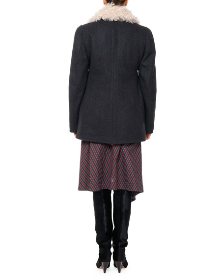 Berit Shearling-Lined Pea Coat
