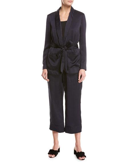 Anasophia Sateen Single-Button Jacket, Navy