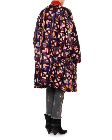 Tao Southwestern Quilted Velvet Caban Coat