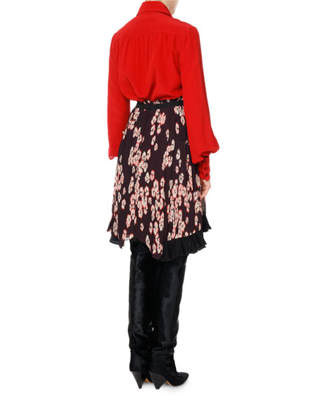 Watford Cherry Blossom Plisse-Pleated High-Low Skirt