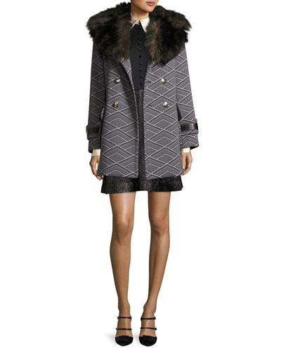 Geo-Diamond Techno Coat with Fur Collar and Matching Items