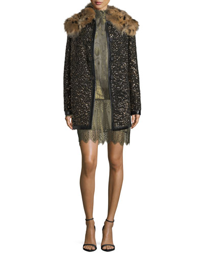 Hammered-Sequin Coat with Fur Collar and Matching Items