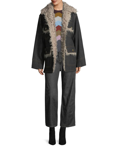 Snap-Front Oversized Patch-Pocket Denim Coat w/ Faux Fur and Matching Items