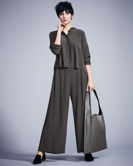 Long-Sleeve Mandarin-Collar Crinkle Crepe Box Top