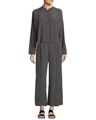 Long-Sleeve Mandarin-Collar Crinkle Crepe Box Top and Matching Items