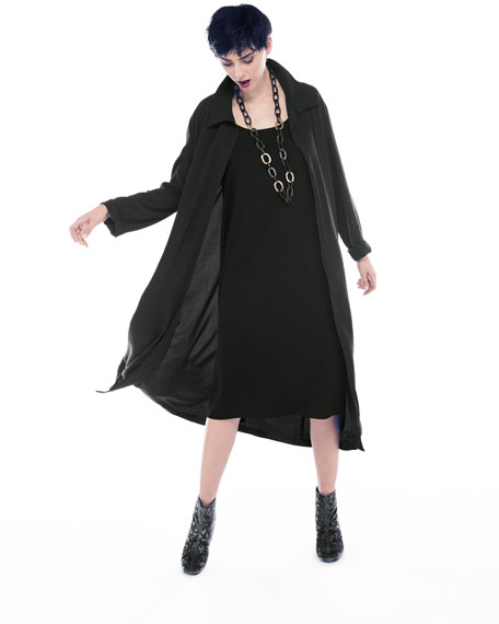 Long Crinkled Crepe Duster Cardigan