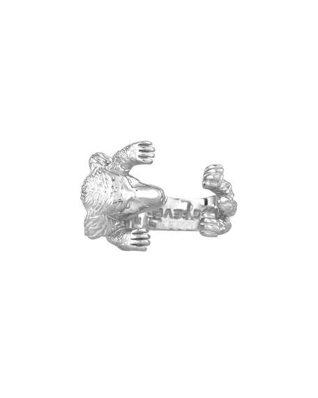 Golden Retriever Silver Dog Hug Ring, Size 8