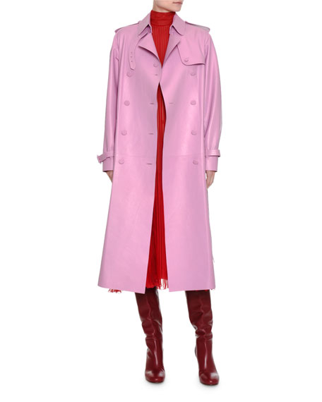 Double-Breasted Leather Trenchcoat