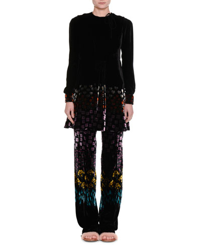 Floral-Print Velvet Drawstring Pants and Matching Items