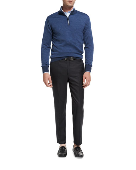 Collection Multi-Season Merino Wool Flat-Front Trousers