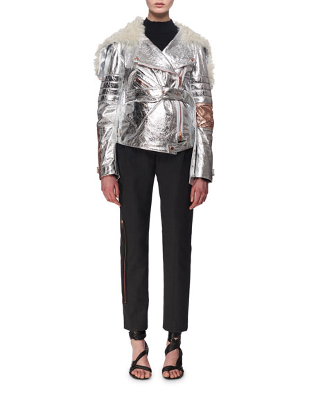 Metallic Leather & Shearling Moto Jacket, Silver