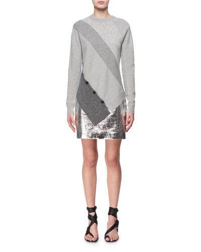 Paneled Wool-Cashmere Asymmetric Sweater, Gray and Matching Items