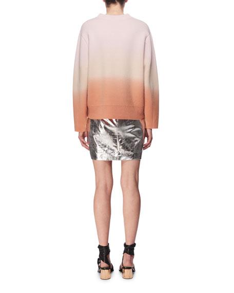 Metallic Leather Mini Skirt, Silver