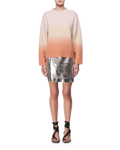 Metallic Leather Mini Skirt, Silver and Matching Items