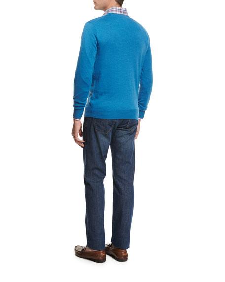 Crown Soft Merino Wool-Silk Crewneck Sweater, Bogue Blue