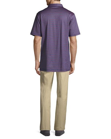 Crown Gardener Striped Cotton Lisle Polo Shirt, Medium Blue