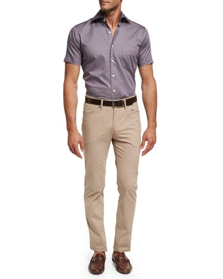 Petite Fleur Short-Sleeve Sport Shirt, Purple