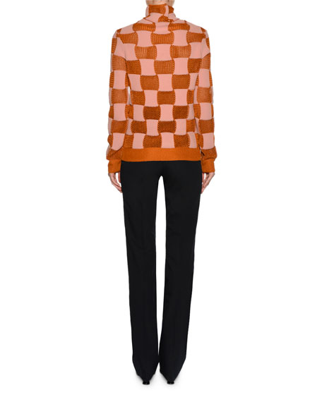 Checker Open-Knit Turtleneck Sweater, Pink/Red