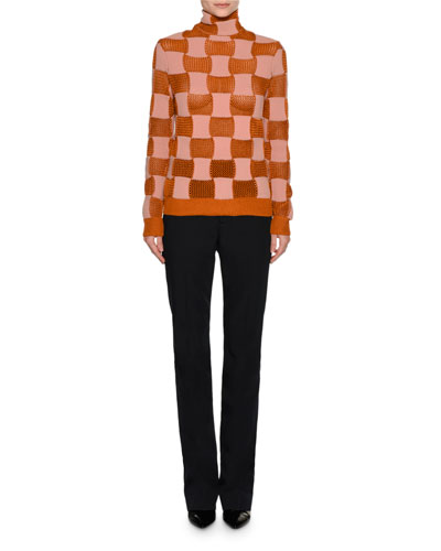 Checker Open-Knit Turtleneck Sweater, Pink/Red and Matching Items