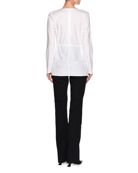 Ruched Poplin Long-Sleeve Tunic, White