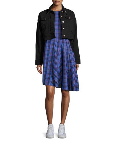 Rima Plaid Cotton Dress, Blue Pattern and Matching Items