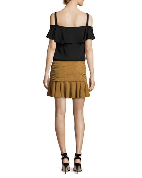 Weston Ruched Leather Mini Skirt, Tan