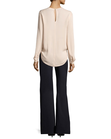 Logan Surplus Long-Sleeve Silk Top, Blush
