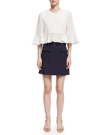 Cropped Frill Eyelet Top, White