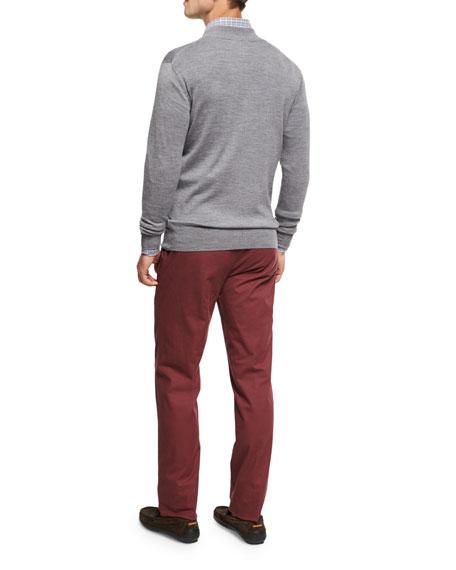 Crown Soft Merino Wool-Silk Full-Zip Cardigan, Flannel
