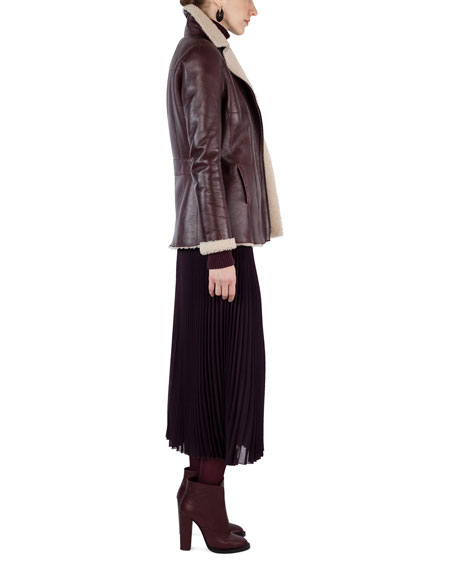 Shearling-Lined Notch-Collar Coat