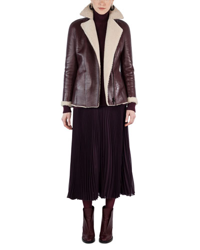 Shearling-Lined Notch-Collar Coat and Matching Items
