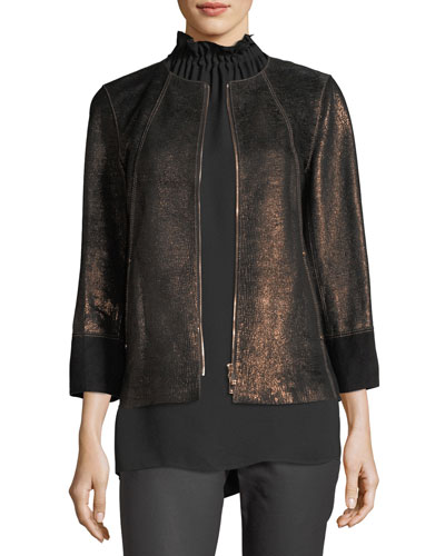 Garrison Velvet-Trim Shimmering Metallic Leather Jacket and Matching Items