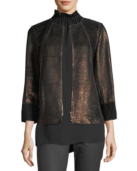 Garrison Velvet-Trim Shimmering Metallic Leather Jacket