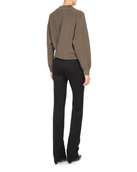 High-Waist Zip-Front Slim Trousers