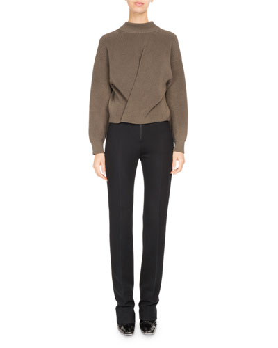 High-Waist Zip-Front Slim Trousers and Matching Items