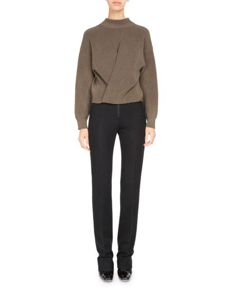 High-Waist Zip-Front Slim Trousers