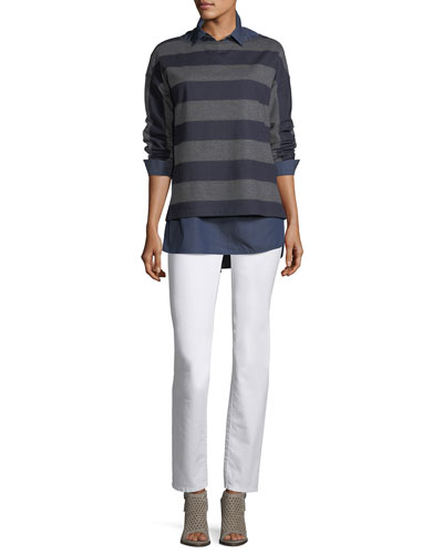 Bateau-Neck Striped Wool Jersey Pullover and Matching Items