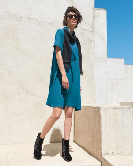 Crinkle Crepe Round-Neck Short-Sleeve Dress