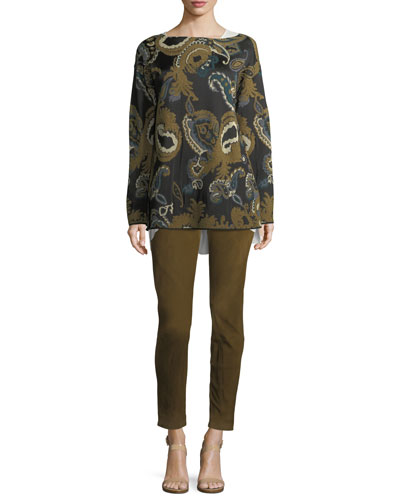 Bateau-Neck Merino Paisley Jacquard Sweater and Matching Items