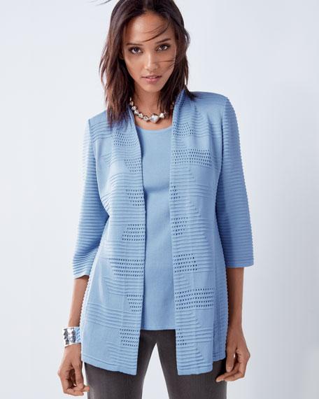Textured 3/4-Sleeve Hook-Front Knit Jacket, Petite